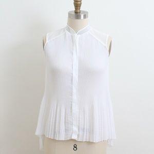 Tahari white pleated sleeveless top